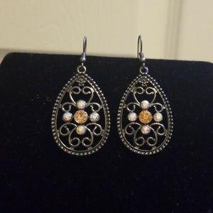 Black and Gold Teardrop Earrings